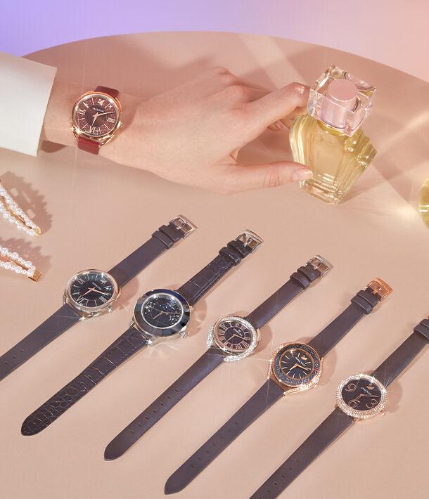 watch, swarovski, crystal, crystalline, navy blue, navy, blue