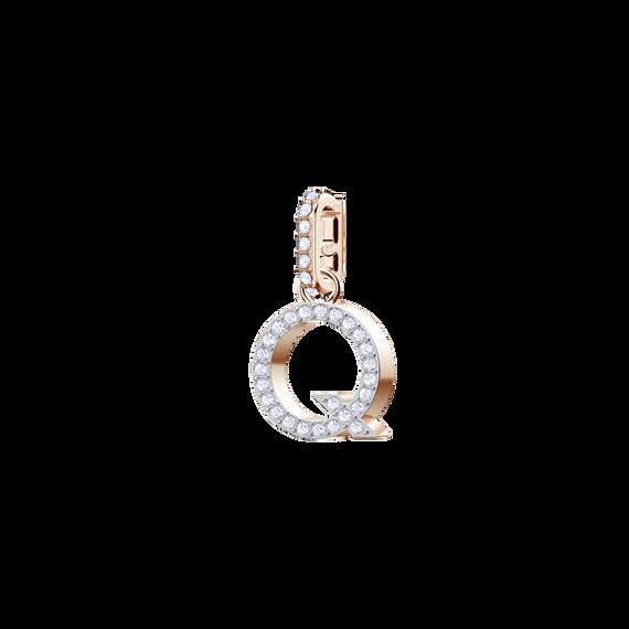Swarovski Remix Collection Charm Q, White, Rose Gold Plating