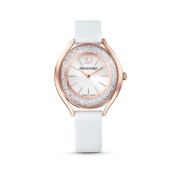Crystalline Aura Watch, Leather strap, White, Rose-gold tone PVD