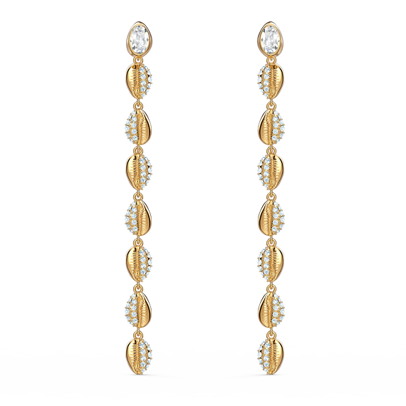 Shell Cowrie Pierced Earrings, White, Gold-tone plated