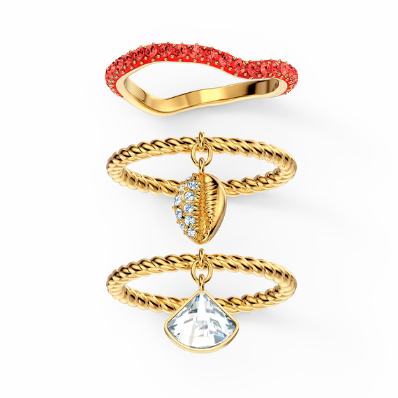 Shell Ring Set, Red, Gold-tone plated