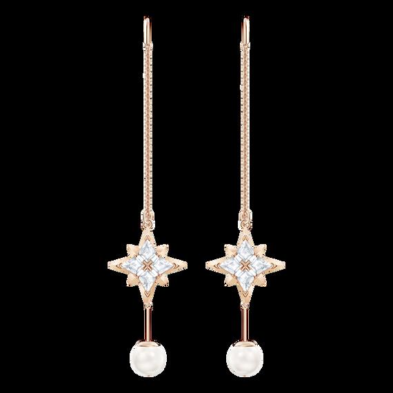 Swarovski Symbolic Chain Pierced Earrings, White, Rose gold tone plated