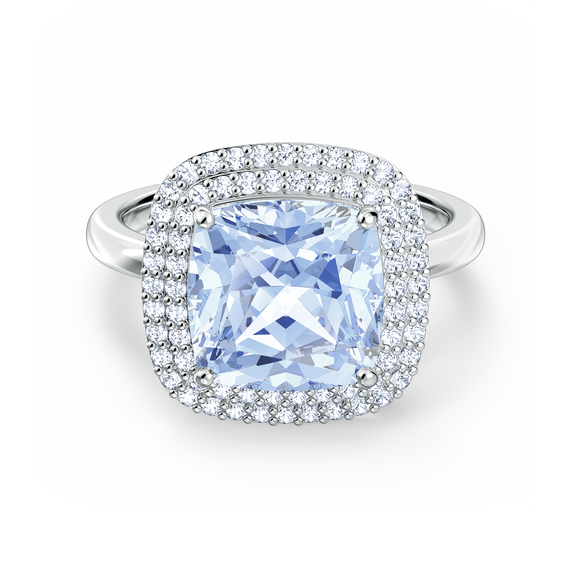 Angelic Ring, Blue, Rhodium plated