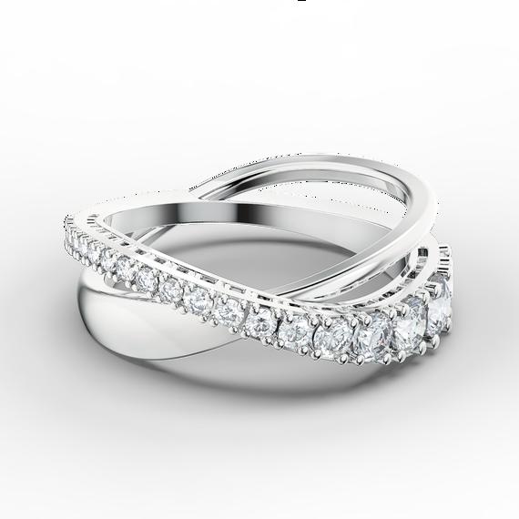 Twist Rows Ring, White, Rhodium plated