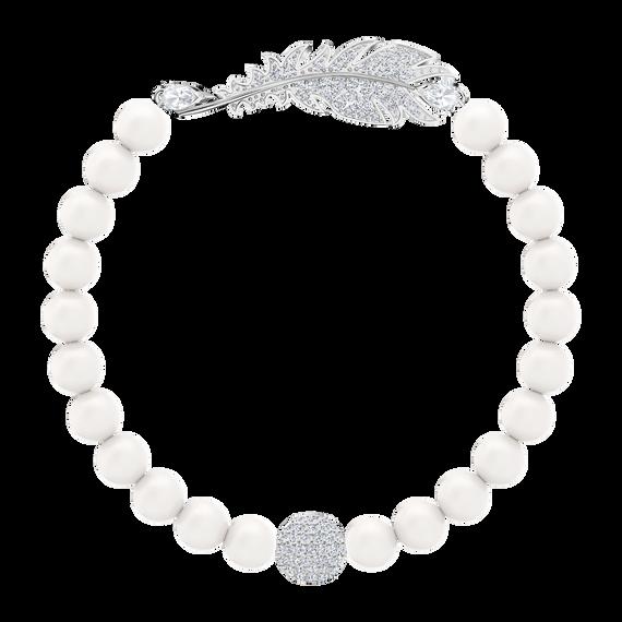 Nice Pearl Bracelet, White, Rhodium plated
