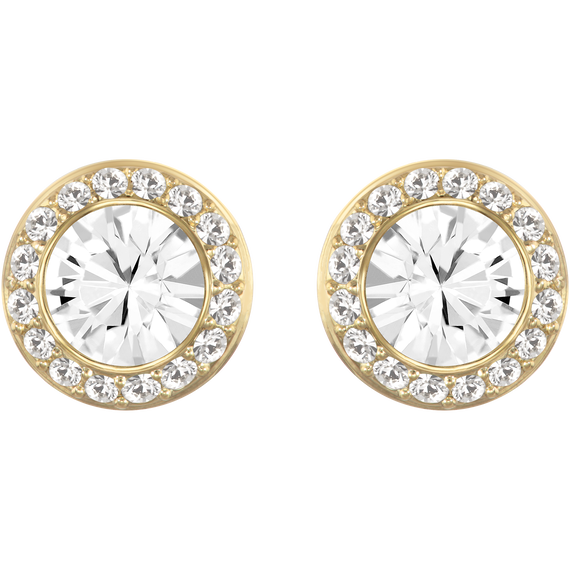 Angelic Stud Pierced Earrings, White, Gold-tone plated