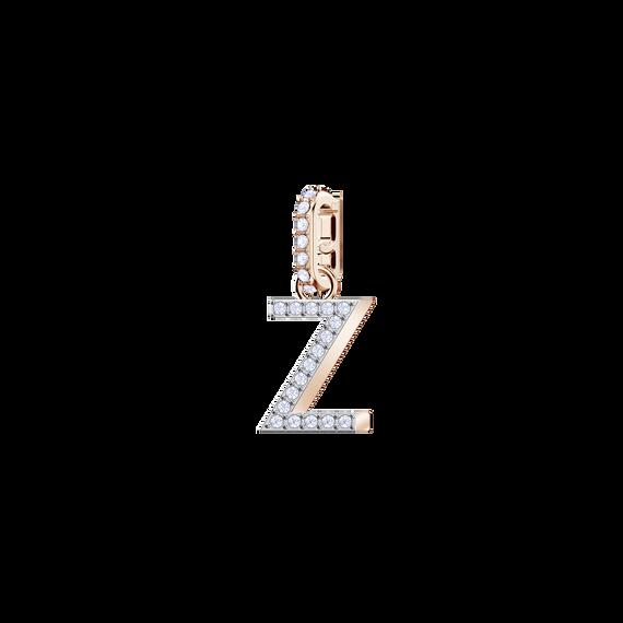 Swarovski Remix Collection Charm Z, White, Rose Gold Plating