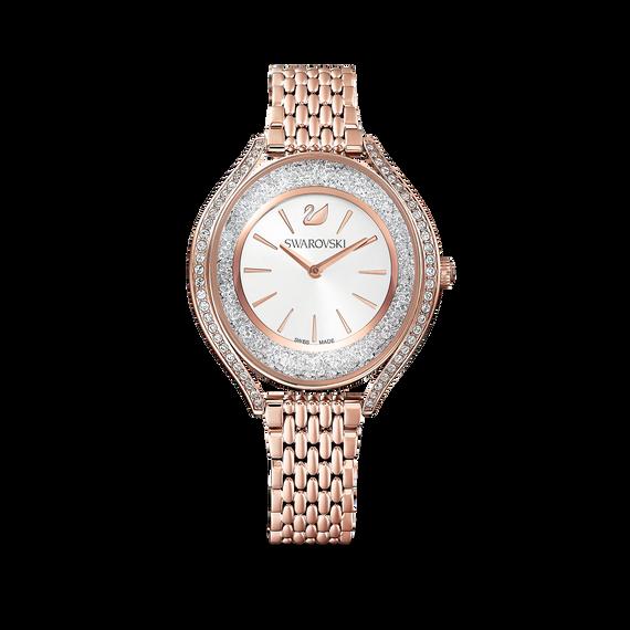 Crystalline Aura Watch, Metal Bracelet, Rose gold tone, Rose-gold tone PVD