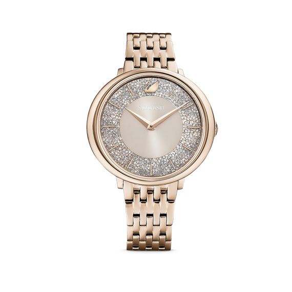 Crystalline Chic Watch, Metal bracelet, Grey, Champagne-gold tone PVD