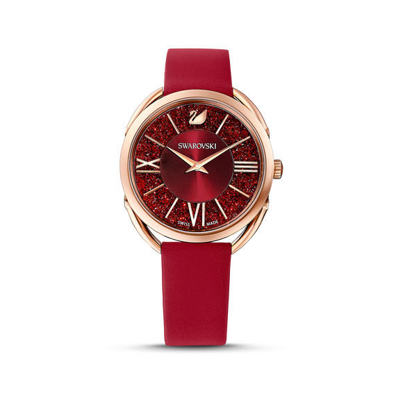 Crystalline Glam Watch, Leather strap, Red, Rose-gold tone PVD