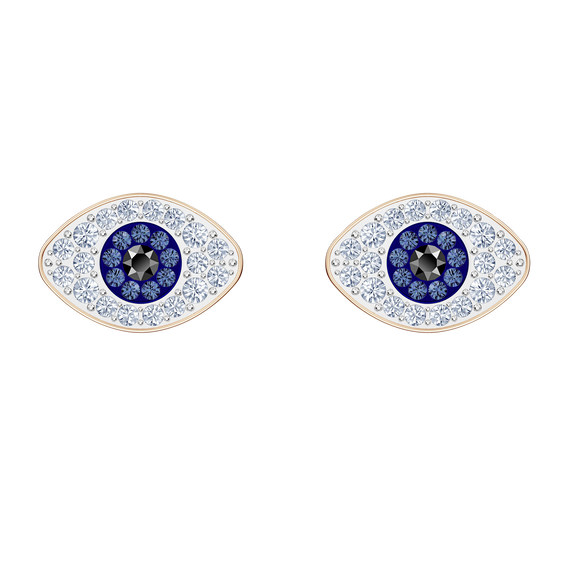 Swarovski Symbolic Stud Pierced Earrings, Blue, Rose-gold tone plated