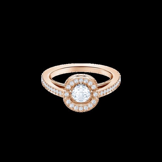 Sparkling Dance Round Ring, White, Rose gold plating