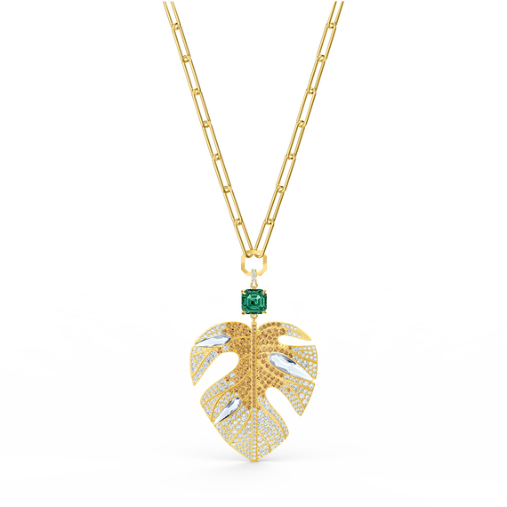 Tropical Leaf Pendant, Light multi-colored, Gold-tone plated