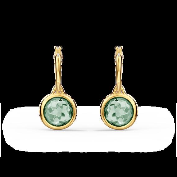 Tahlia Mini Hoop Pierced Earrings, Green, Gold-tone plated