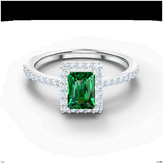 Angelic Rectangular Ring, Green, Rhodium plated