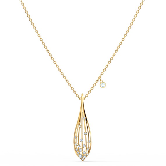 Stunning Olive Pendant, White, Gold-tone plated