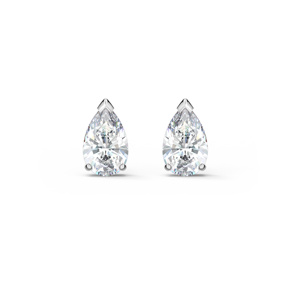 Attract  Pear Stud Pierced Earrings, White, Rhodium plated