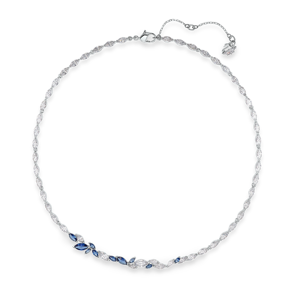 Louison Necklace, Blue, Rhodium plated