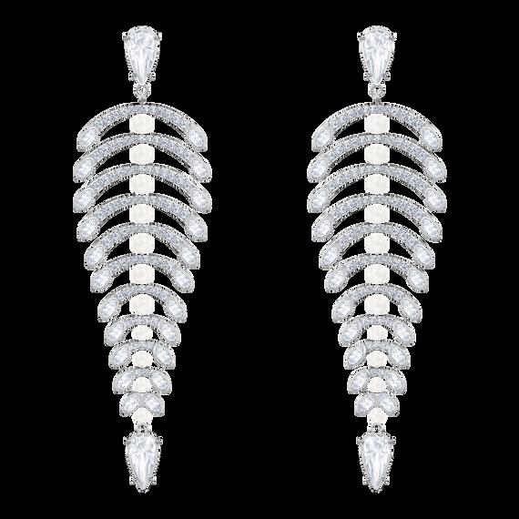Polar Bestiary Chandelier Pierced Earrings, White, Rhodium plated
