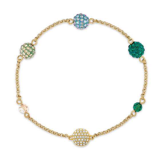 Swarovski Remix Collection Pop Strand, Green, Gold-tone plated