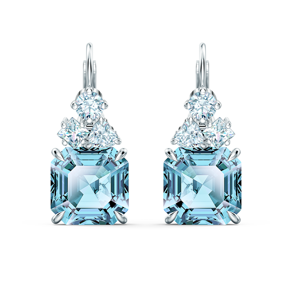 Sparkling Pierced Earrings, Aqua, Rhodium plated